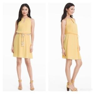 WHBM Yellow Blouson Tie Waist Dress SZ 8 NWT